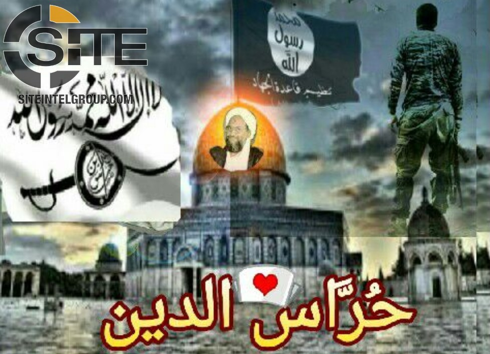 Artwork by supporters of the newly established group, Hurras al-Deen.