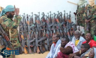 Shabaab Releases Images Showing Surrender of 60 SNA Soldiers and Their Weapons