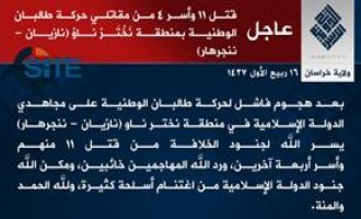 IS Claims Killing 11 Afghan Taliban Fighters, Capturing 4 in Nangarhar
