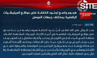 "IS Claims Launching ""Broad Offensive"" Against Shi'ite Militia Positions in Mosul, Taking Control of Several Neighborhoods"