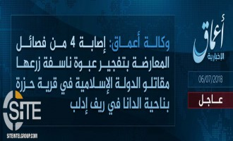 IS Claims Bombing Syrian Opposition Faction Vehicle in Idlib