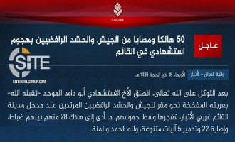 IS Claims Killing 28 Iraqi Soldiers and PMU, Wounding 22 Others in Suicide Bombing in Anbar