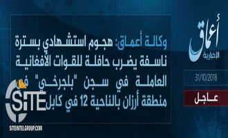 'Amaq Reports IS' Responsibility for Suicide Bombing Near Pul-e-Charkhi Prison in Kabul