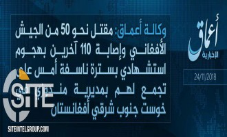 'Amaq Reports 160 Casualties in IS Suicide Bombing in Khost