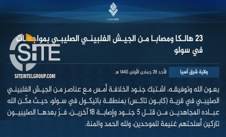 IS Claims 23 Casualties Among Filipino Soldiers in Clash in Sulu