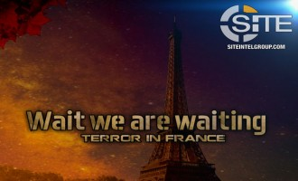 IS-aligned Group Threatens France in Poster Depicting Fighter Monitoring Eiffel Tower
