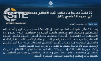 IS Claims 30 Casualties in 4-Man Suicide Raid at Afghan Communications Ministry in Kabul