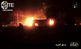 Boko Haram Video Shows Burning of Village and Nigerian Military Tank and Barracks