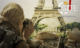 "Depicting Fighter Surveying Eiffel Tower, IS-aligned Group Warns of ""Jihad Everywhere"""