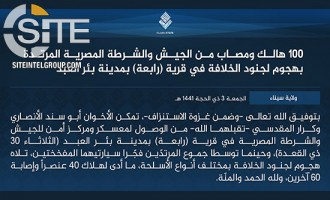 Countering Casualty Numbers Given by Egyptian Armed Forces, IS Claims 100 Killed and Wounded in Suicide Raid in Bi'r al-Abd