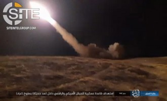 IS Gives Photo Documentation of Rocket Strike on Joint American-Iraqi Base in Anbar