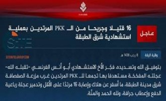 IS Claims Suicide Bombing by French Fighter on PKK, East of Tabqa