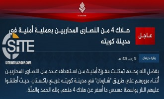 IS' Khorasan Province Claims Killing 4 Christians in Quetta