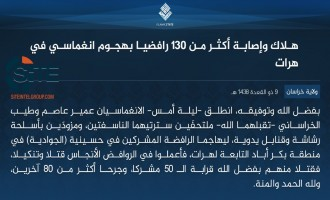 IS' Khorasan Province Claims Killing 50, Wounding 80 in Two-Man Suicide Raid at Shi'a Mosque in Herat