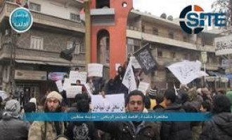 Nusra Front Publishes Photos of Mass Demonstration in Idlib Rejecting Riyadh Conference