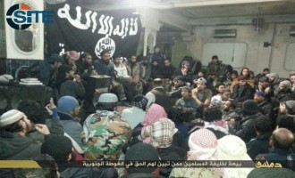 IS Publishes Photo Report on Nearly 200 People in Damascus Pledging to Abu Bakr al-Baghdadi