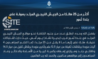 IS' West Africa Province Claims Killing 25 Nigerien Soldiers in Attack in Toumour