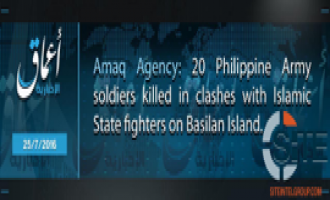 IS' 'Amaq News Reports 20 Philippine Soldiers Killed in Clashes in Basilan