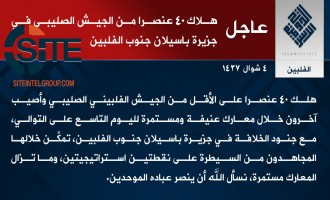 IS Claims Killing 40 Philippine Soldiers in Clashes in Basilan
