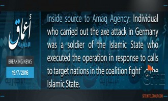 "IS' 'Amaq Says Axe Attack on German Train Carried Out by IS ""Soldier"""