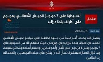 IS' Khorasan Province Claims Seizing 7 Afghan Army Positions in Jowzjan
