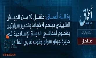 'Amaq Reports IS Fighters Killing 10 Philippine Soldiers in Attack in Jolo