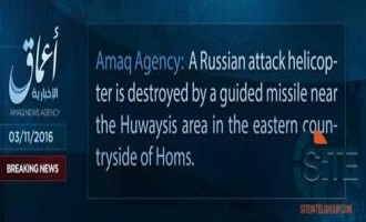 'Amaq Reports IS Destroying Russian Attack Helicopter with Guided Missile in Homs