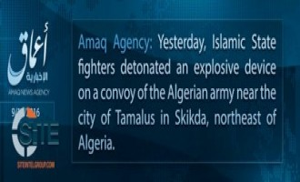 IS' 'Amaq Claims Bombing of Army Convoy in Algeria
