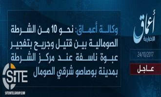 'Amaq Reports 10 Somali Police Killed, Wounded in IS Attack in Bosaso
