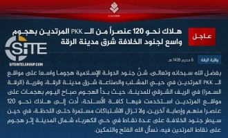 IS Claims Killing Nearly 120 SDF in Offensive in Eastern Raqqah City